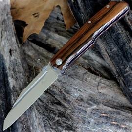 Fox FX-515W, Terzuola Folder Modified Tanto Satin Blade, Ziricote Wood Linerlock