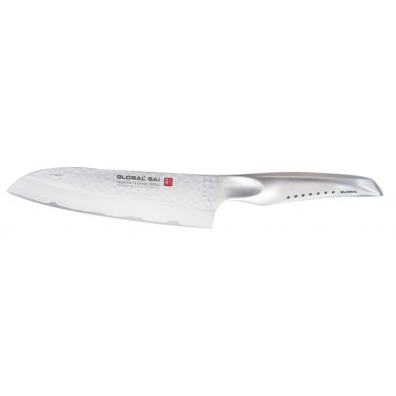 Global sai 03 cuchillo santoku 19 cm hammered cuchillos for Cuchillo santoku