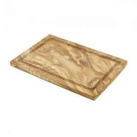 Genware OWSBS Olive Wood Serving Board Groove 30 X 20cm