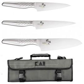 Kai Seki Shoso - Set de Cuisine avec 3 Couteaux Kai