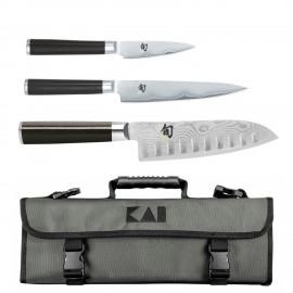 Kai Shun Classic - Maletín de Cocina con 3 Cuchillos Kai