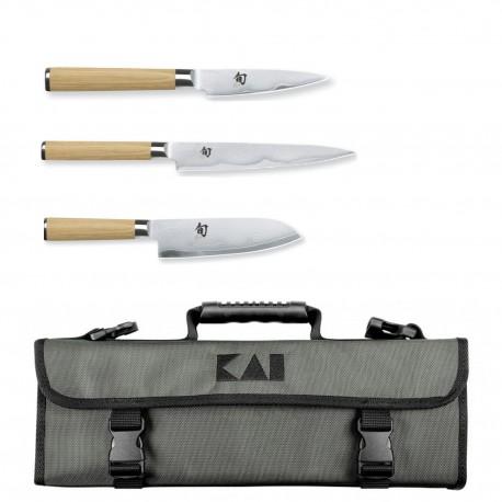 Kai Shun White - 3-piece knife bag set