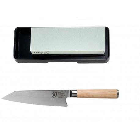 KAI SHUN WHITE Cuchillo Kiritsuke, 15 cm + Piedra Afilado 400/1000