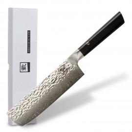 Zayiko Kuro Faca Nakiri 18 cm Hammered Damasco
